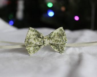 Mae Baby Bow - Newborn/Children's Headband, Clip-Green, Ivory-Photography prop