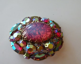 Coro unmarked Cats Eye, Mexican fire opal glass rhinestone domed brooch, pin.