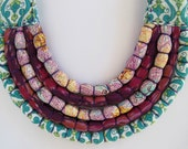 Purple Silk and Turquoise Cotton Five Strand Necklace (Baby Friendly)