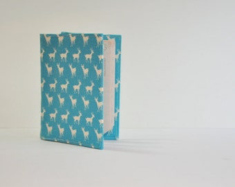 Passport Cover Sleeve Case Holder Blue and White Tiny Deer  theme Cotton Fabric