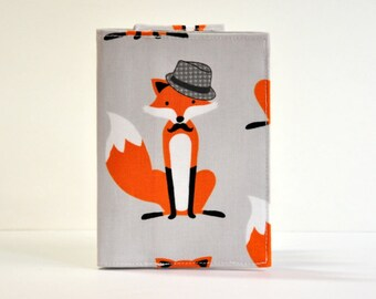 Passport Cover Sleeve Case Holder dapper fox with hat orange and gray Cotton Fabric