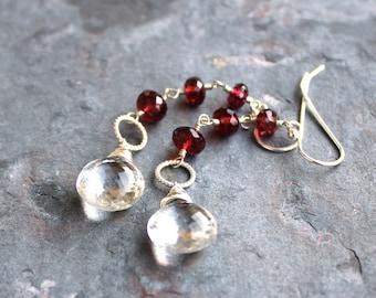 Long Dangle Garnet Earrings Crystal Quartz Earrings Sterling Silver Red Statement Earrings