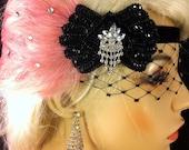 Great Gatsby Headband, Flapper Headband, Downton Abbey, 1920s Head Piece, Art Deco Headband, Black and Dusty Pink, Soft  Velvet Ties