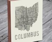 Columbus Ohio Art - City Map Art - Columbus Map - Columbus Ohio Map Art- Wood Block Wall Art Print