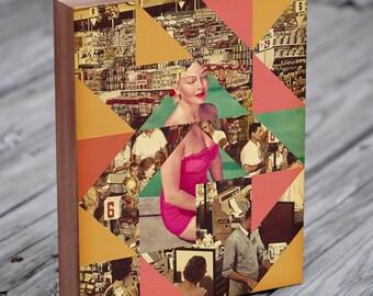 Mid Century Modern Art - Collage Art - Triangle Art - Geometric Art - Wood Block Art Print