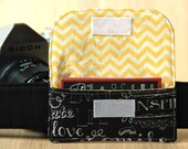 Business Card Pocket for Camera Strap - Chalk Words and Yellow Chevron - Ready to Ship