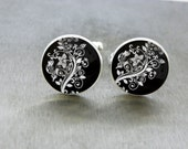 Floral Cufflinks Black and White Vines and Flowers Cuff Links Cool Handmade Present For Him Men Accessory Silver Cuffs Timeless Keepsake