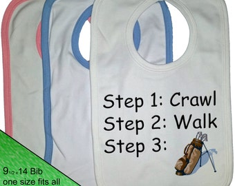 Golf Bib - Golf baby Bib - Golfer Bib - baby clothing - Steps crawl walk golf baby infant toddler golfer bib