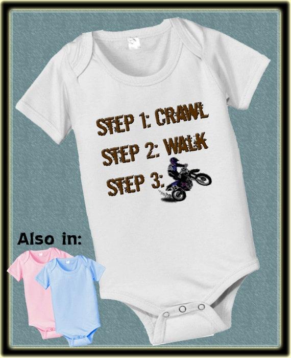 Future steps crawl walk dirt biker infant bodysuit bike dirtbike motorcross dirtbike dirt bike short sleeve and long sleeve