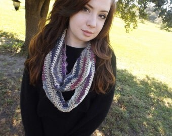 Multi-colored Multi-textured Infinity Scarf
