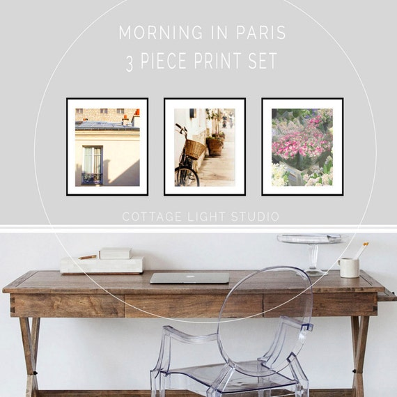 Art, Paris Photography, 3 piece Paris Print set, Paris Art Prints, Spring in Paris, Wall Decor, Wall Art, Three 11x14 inch Paris Prints