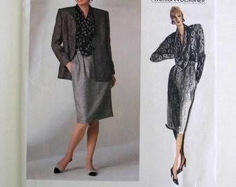 Vogue Pattern 1755 Anne Klein American Designer Jacket, Skirt, Blouse Misses Size 12 Copyright 1986