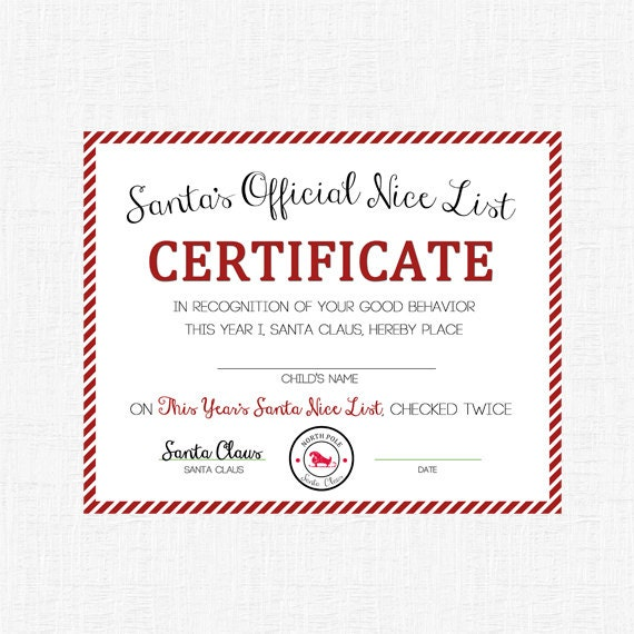 Nice List Certificate Printable or Mailed by A Delicate Gift | Catch ...