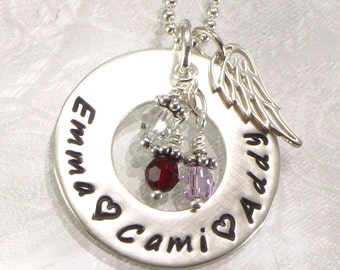 Personalized Mother's Necklace - Sterling Silver Eternity Circle with Angel Wing Charm - Hand Stamped with Kids Names - Jewelry for Mom