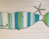 RESERVED For Andrea 5 Hooks For Whale Sign Beach House Decor Wall Art Striped Sea Glass Colours by CastawaysHall