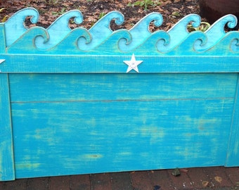Waves Headboard Twin Size Beach House Furniture Decor by CastawaysHall - Assemble Yourself