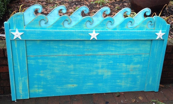 Waves Headboard Twin Size Beach House Furniture Decor By