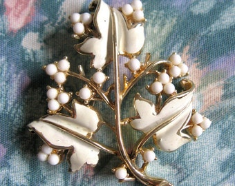 Vintage 1960s Brooch Coro Enamel Leaves White Bead Gold Tone 60s Signed Pin