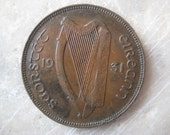 1931 Ireland, 1 Pingin Bronze Coin, Clairseach and Hen with Chicks