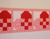 Valentine Table Runner, Quilted Table Topper, Patchwork Hearts, Red Pink Ivory