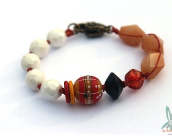 Peach sorbet - handmade bracelet with lampwork glass focal, aventurine and Czech glass in peach, orange and white