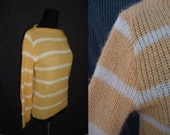 Yellow Striped Boatneck Vintage 1970's Womens Knit Sweater S M