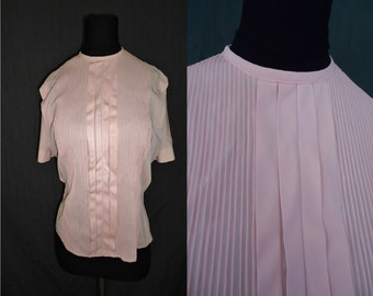 Pink Nylon Pintuck Pleated Vintage 1950's Womens Blouse Shirt M L