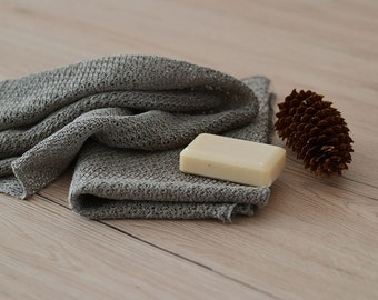 2 Organic Linen Towels Rustic Knitted Towel Hand Towels Natural Linen Towels