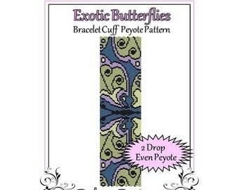 Bead Pattern Peyote(Bracelet Cuff)-Exotic Butterflies