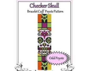 Bead Pattern Peyote(Bracelet Cuff)-Checker Skull