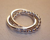 Sterling Silver Beaded Wire Interlocking Entwined Triple Rings 14mm
