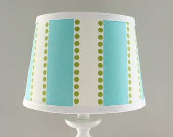 Small Aqua and Green stripe lamp shade.