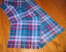 Monogrammed Scarf, Personalized Scarf, Blue & Purple Plaid, Fleece Scarf, Fringed Scarf, Girl Gift, Personal Gift, Inexpensive Gift