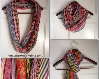Infinity Scarf, multi-color chiffon infinity scarf, chiffon scarf, colorful scarf, fashion scarf