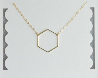 Geometric Necklace, Hexagon Necklace, Handmade in USA, Gold Filled, Gold Plated, Birthday Gift, Bridesmaid Gift, Valentine's Day
