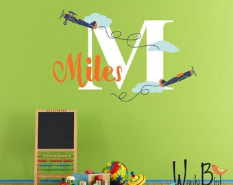 Airplanes Name Wall Decal - Personalized - for kid's room and baby's nursery
