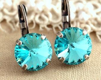 Turquoise Aqua Silver drop earrings, Silver drop earrings,Swarovski drop earrings, Bridesmaids earrings - silver earrings, wedding jewelry