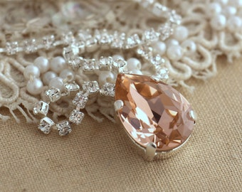 Blush pink Crystal Silver Necklace, Bridal Blush pink necklace, Swarovski  Necklace, Bridesmaids jewelry, Pink Blush Jewel Gold Or Silver