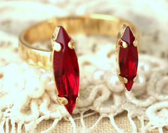 Ruby Crystal Swarovski Dual ring, Ruby Red Crystal  Ring, Trending Crystal rings, Delicate stacking ring, Gift for woman, Danity Ring