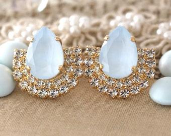 Powder Blue Stud earrings Powder Blue Swarovski earrings Light Blue Bridal jewelry Baby Blue Rhinestone earrings Wedding Stud Earrings