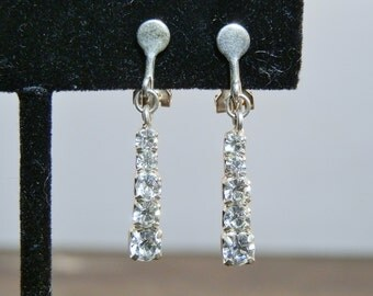 Vintage Rhinestone Drop Earrings Dangle Clip On Mid Century Silver Tone Bridal Evening Costume Jewelry GallivantsVintage