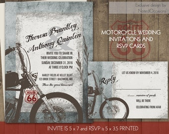 Motorcycle Wedding Invitations | Biker Bride Wedding Invitations for Biker Harley Davidson Weddings |Digital Printable Files