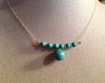 Turquoise Necklace - Sterling Silver Jewelry - Bead Bar Pendant Jewellery - Chain - Fashion