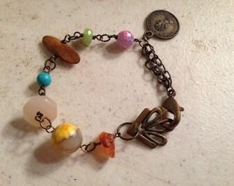 Bead Bracelet - Brass Jewelry - Wire Wrapped Jewellery - Chain - Gemstones - Funky - Mod
