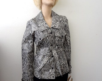 1970s Snakeskin Print Jacket / faux leather coat / vintage NOS