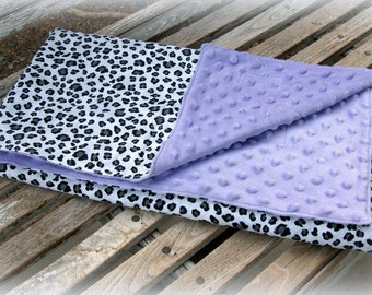Lavender Minky Blanket with Black and White Cheetah Print/ Unisex babyl/Purple Minky