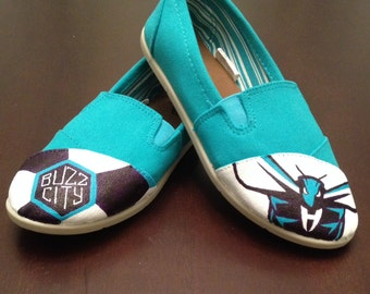 Charlotte Hornets Hand Painted Canvas Shoes