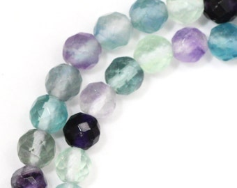 Rainbow Fluorite Beads - 6mm Faceted Round