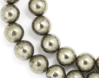 Pyrite Beads - 8mm Round - Half Strand