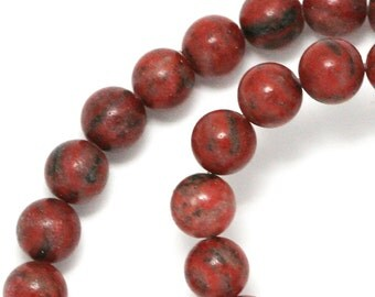Red Sesame Jasper Beads - 8mm Round